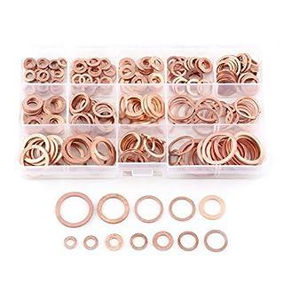 ca. 280 Stück Kupferdichtringe Kupfer flache Scheibe Unterlegscheiben flache Dichtring Sortiment Kit mit Box passend für Schrauben Schrauben Verbindungselemente (12 Größen)