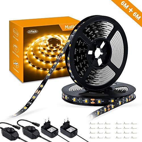 MustWin LED Streifen 6M LED Band Dimmbar Lichtband 360 LEDs 3000K Warmweiß Selbstklebend 2835SMD 300LM mit 12V Netzteil Innenbeleuchtung für Deko Schränke Zimmer Party (2 Stück) -