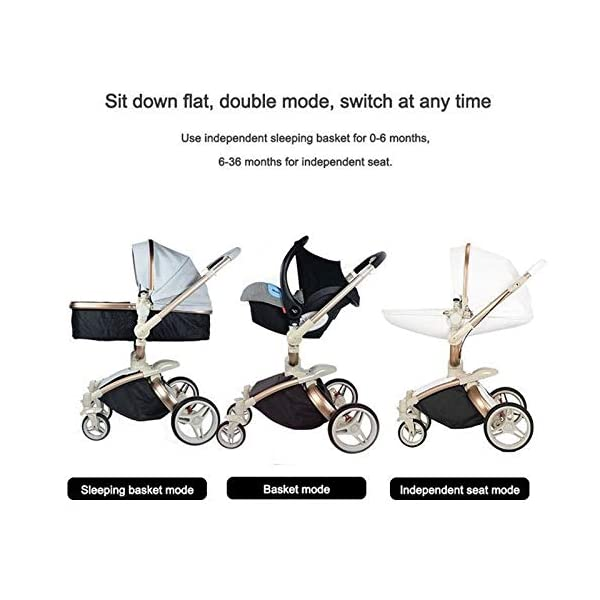 Baby Stroller, High Landscape for Sitting and Reclining Baby Doll Stroller, Shock Absorption and Light Baby Trend Jogging Stroller for Baby Infant Newborn Baby (Color : White) AEQ ●BABY ALIVE STROLLER TWO-WAY IMPLEMENTATION:enhance baby comfort baby stroller fan, check the baby at any time, family is more assured. ●EXQUISITE CRAFTSMANSHIP, STREAMLINED FRAME: for baby stroller adopts bionic principle, combined with physical triangle mechanics, support design, frame is stable and durable, easy to collect, smooth cart, tube width is over 5cm, less punching, baby pram stroller is more integrated Forming is stable. ●ENJOY THE SUN WITHOUT SUNBURN: Baby strollers are made of natural natural fabric and bottom PT film. They have excellent rebound and stretchability, and they can maintain a smooth and beautiful appearance after many times of folding. With authoritative certification, it can isolate more than 95% of ultraviolet rays, meet the travel needs of the baby in different time periods, and resist the sun glare. Baby stroller toy protects the baby's delicate skin. 4
