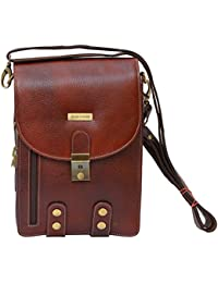 Brand Leather Cross Body Leather Sling Bag (Brown)