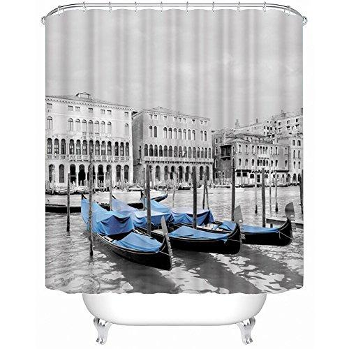RiseSun 3D Duschvorhang mit Ringen (71x 71inches),Anti-Schimmel & Anti-Bakteriell Lichtdurchlässig Dekorative Duschvorhang Textilien Polyester Wasserdicht Duschvorhang (Venedig-Ansichten) (Kunststoff-ringe Sie Schrumpfen)