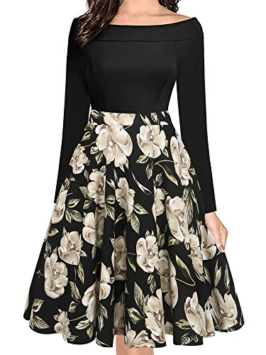 oxiuly Damen Vintage Schultertaschen Casual Floral A-Linie Party Cocktail Swing Kleid OX232 - schwarz - Klein (Klein Swing Kleider)