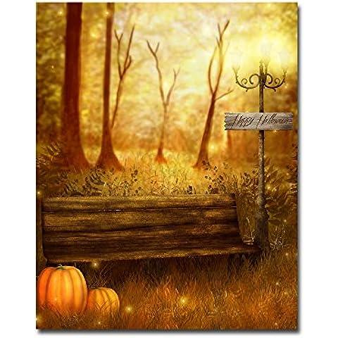 lotuslife stampata su tela dipinti Happy Halloween zucca Olio pittura arte per decorazione da parete, Tela, Unframed(32x40Inch)