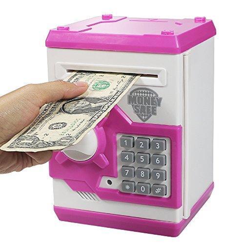 HUSAN Hucha electrónica para niños con código electrónico de cerditos, Mini cajero electrónico...