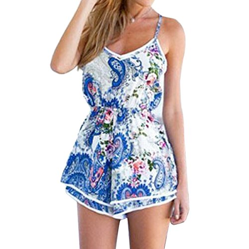 Grenouilleres Femmes Mode Imprime Manches Backless Slim Jarretelles Short Jumpsuit Photo Color