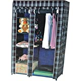 New Latest Designer Fancy And Portable Foldable Closet Wardrobe Cabinet Portable Multipurpose Clothes Closet Portable Wardrobe Storage Organizer With Shelves 3.5 Feet Folding Wardrobe Cupboard Almirah Foldable Storage Rack Collapsible Cabinet (Need To Be