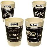 Unbekannt 4 Stück _ Bambus - Trinkbecher / Zahnputzbecher / Malbecher - Becher -  Retro - Motiv-Mix  - inkl. Name - 300 ml - mehrweg - BPA frei - Trinkglas Bambusbech..