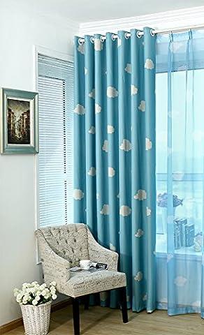 SearchI Rideau Occultant de Fenêtre à Oeillets Curtains for Windows Isolant Thermique pour Enfants,1PC (140B×245H cm, Bleu)