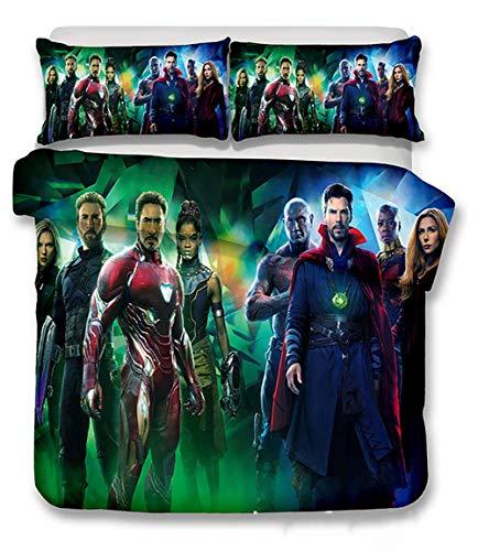 Bettbezug-Set Kissenbezüge 3D gedruckt Wunderfilm Captain America Muster Super weich Mikrofaser Bettwäsche zum Jugendliche, UKKing