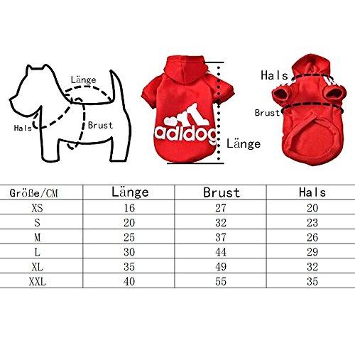 Eastlion Adidog Hund Pullover Welpen-t-shirt Warm Pullover Mantel Pet Kleidung Bekleidung, Grau, Gr. L