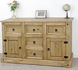 Mercers Furniture Trade Corona Large 2 Door 5 Drawer Sideboard Light Fiesta Wax