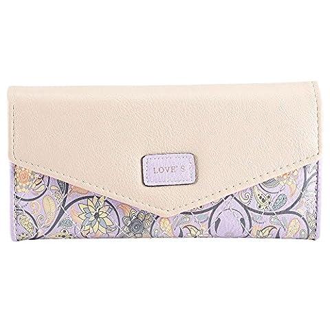 eZoneUK® Floral Print Womens Fashion Clutch Leather Handbag Lady's Bowknot Wallet Coin Purse