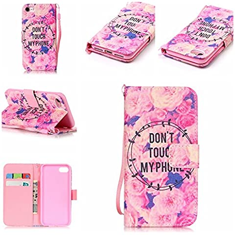 Custodia iPhone7, iPhone7 Case, Cozy Hut ® Retro Colorful Drawing Art Painted Premium PU Leather Magnetic Flip Wallet Cover with Detachable Hand Lanyard & Card Slots & Stand Function for Apple iPhone7 Case Custodia Cover Shock-Absorption Bumper e Anti-Scratch Clear Back per iPhone7 4.7