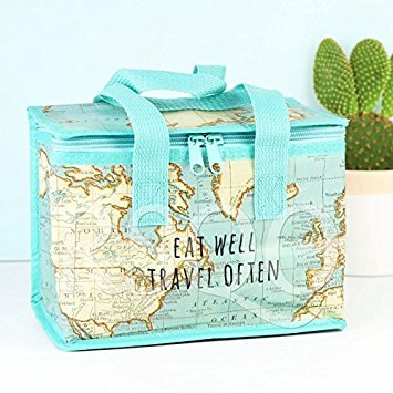 Lunchtasche aus recyceltem Kunststoff, mit Vintage-Karte, isoliert, von Sass and Belle