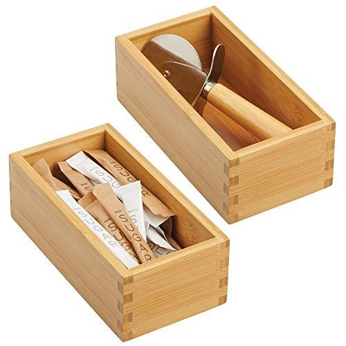 mDesign 2er-Set Schubladeneinsatz für die Küche - modulare Schubladenbox für Küchenaccesoires und mehr - Organizer aus Bambus für die Schublade - Hellbraun