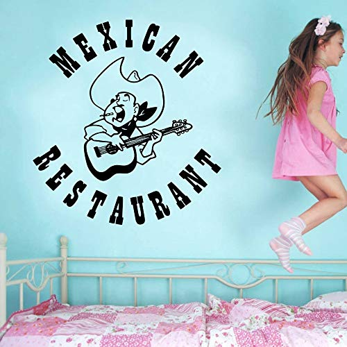 Mexikanisches Restaurant Zeichen Wandaufkleber Folk Music Sombrero Guitar Design Wandtattoo Mexikanisches Essen Wohnkultur Wandbilder 55x60CM