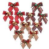 longsing Fiocchi Natale, Fiocco di Natale Nastro con Campane Bowknot Decorazione da Appendere Decorazioni per L'Albero di Natale di Natale Bowknot (Confezione da 12)