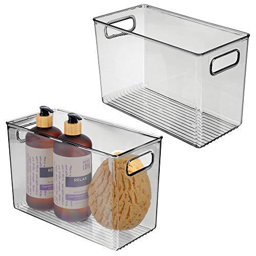 mdesign set da 2 contenitori per il bagno - organizer per il bagno di plastica per cosmetici, prodotti bagno e molto altro - pratico cesto per il bagno con manici - grigio scuro