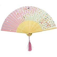niceeshop(TM) Abanico de la Mano, Abanico Plegable de Bambú de Encaje del Patrón de la Flor de Cerezo Rosa y Verde