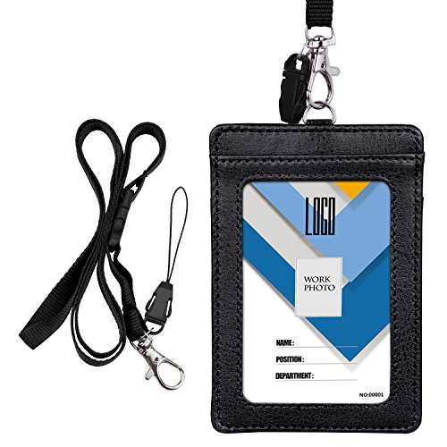 Wisdompro, porta badge a 2 lati in PU cartellino porta badge con tracolla/laccetto da collo staccabile da 58,4cm, nero (verticale) Vertical Nero