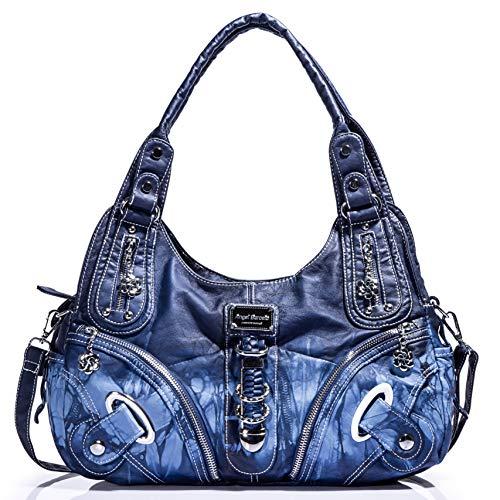 Handtasche Hobo Frauen Tasche weiblich geräumig mehrere Taschen Street Ladies ' Schultertasche Fashion PU Tote Bag (AK11282-Blau)