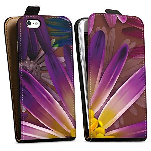 Apple iPhone X Silikon Hülle Case Schutzhülle Lila Blume Blüte Downflip Tasche schwarz