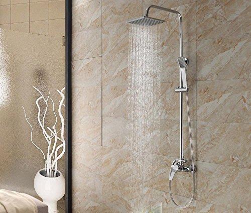 by-modern douche Suite, Hôtel de Salle de Bain, Pluie, peut être relevée et Abaissée, ABS double-square Embout de douche en laiton, mitigeur