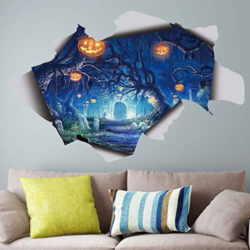JXFY Halloween Hallween3D Creative Kürbis Licht Horror Schlafzimmer Wohnzimmer Aufkleber 57x36cm