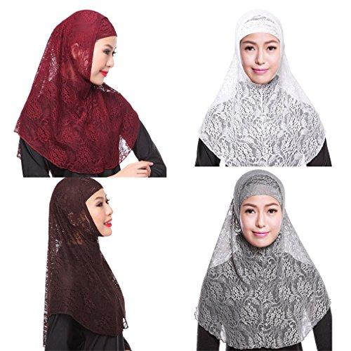 GladThink 4 X Muslim Lace 2 Pieces Hijab Scarf Women Wine+W+Gris+café