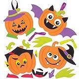 Baker Ross Kits de Calabazas Decorativas con Caras Divertidas (Pack de 6) para Manualidades y Decoraciones Infantiles de Halloween