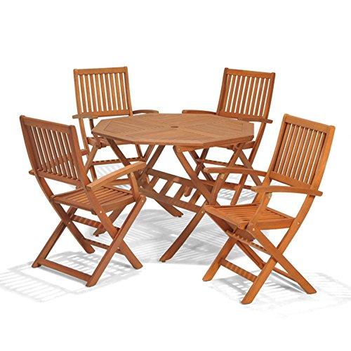 Country Dining Set (Holz Gartenmöbel Set, 4Sitz Folding Patio Tisch und Stühle, ideal für Outdoor Living und Esszimmer, Hartholz FSC-zertifiziertes Eukalyptus-Holz..)