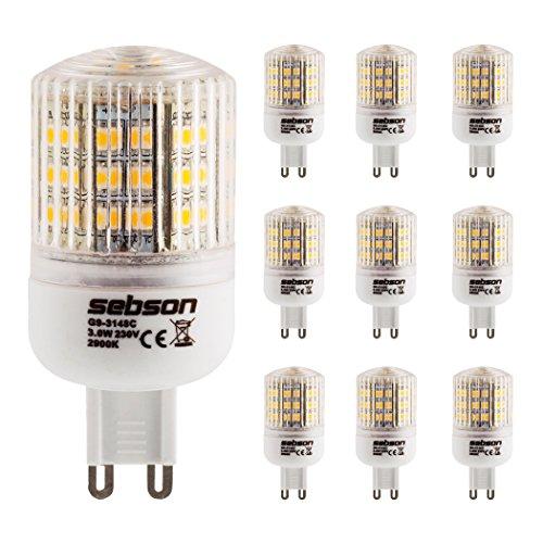 SEBSON® 10 x Ampoules LED 3W (remplace 25W) - Culot G9 - Angle du faisceau 160° - Blanc chaud - 240l