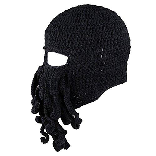 MagiDeal Lustige Bartmütze Stickmütze mit Bart Maske Krake Kostüm - Schwarz