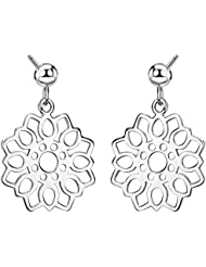 Neoglory Pendientes Colgantes Plata de ley 925 Flores Lotos Chapado en Oro Blanco Joya Original Regalos para Mujer