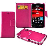 (Hot Pink) Blackberry Storm 9500 Mega sottile Protezione in ecopelle ventosa Custodia a portafoglio Pelle Copertura Caso Cover con carta di credito/debito Slot Aventus