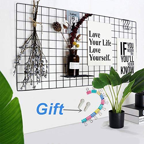 WJSX Grid Wall,Eisen Gitter Pinnwand,Foto Wand,Memo Boards,Schwarz (40 * 80 cm) -