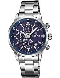 Skone Hombre Azul Deportivos Marcas de acero Relojes Analogico