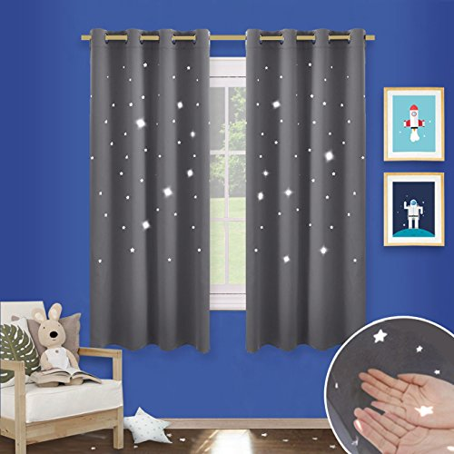 Pony Dance Hollow Out Star Blackout Curtains Window Treatment Top Eyelet Twinkle Magical Fairy Drapes For Kids Room 2 Panels