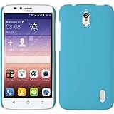 PhoneNatic Case kompatibel mit Huawei Y625 - Hülle hellblau gummiert Hard-case + 2 Schutzfolien
