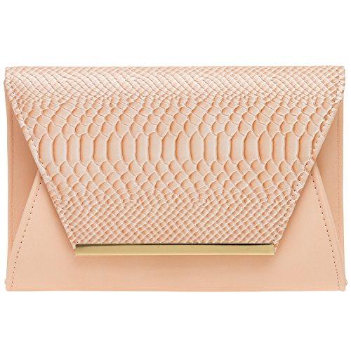 CASPAR TA386 stylische große Damen Envelope Clutch Tasche / Abendtasche mit Kroko Applikation, Farbe:rosa;Größe:One Size