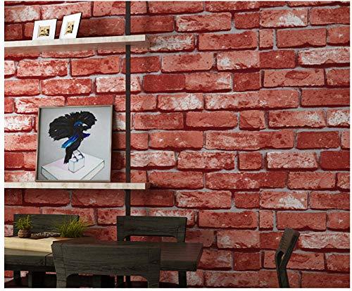 3D Tapete kinderzimmer 0.53 x 10m, Ziegelimitat Ziegelmuster Vlies blau Backstein roter Backstein Bekleidungsgeschäft Restaurant Hintergrund @ Scarlet_