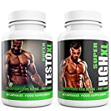 Testosterone Booster for Men SUPER TESTO XL & SUPER HGH XL 120 Capsules 1 Month Supply by Natural Answers