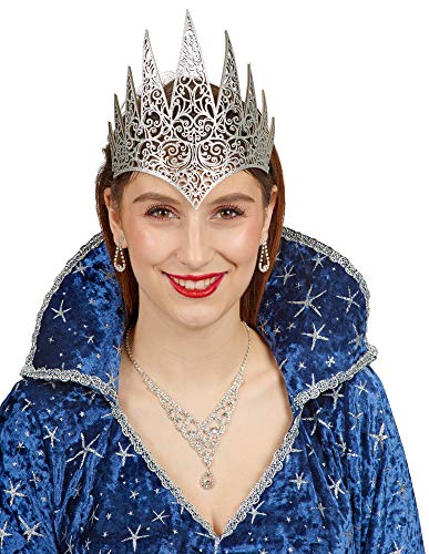 Andrea-Moden Stirnband-Eiskönigin in Silber | Einheitsgröße Erwachsene | Krone-Schneekönigin (Schneekönigin Kostüm)