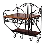 Craftatoz Wrought Iron and Wooden Double Holder Set Top Box Stand for Wall (Multicolour, 9.5x7x 11 Inches)