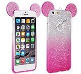 iPOMCASE Coque Souple pailletée Rose Oreilles iPhone 6,iPhone 6S
