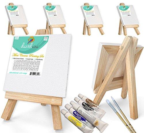 Daveliou Mini Leinwand Gemälde Set 3 'x 3' (7,7 x 7,6 cm) - Leere gestreckt gerahmte Leinwand 6 Stück Packung mit 6 Stück - 6 Acrylfarben - 2 Pinsel