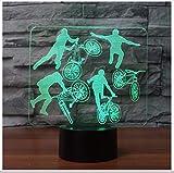Creative 3D fahrer nachtlicht led 7 farben ändern fahrrad grenze bewegung tischlampe schlaf beleuchtung schlafzimmer nacht dekor kinder geschenke