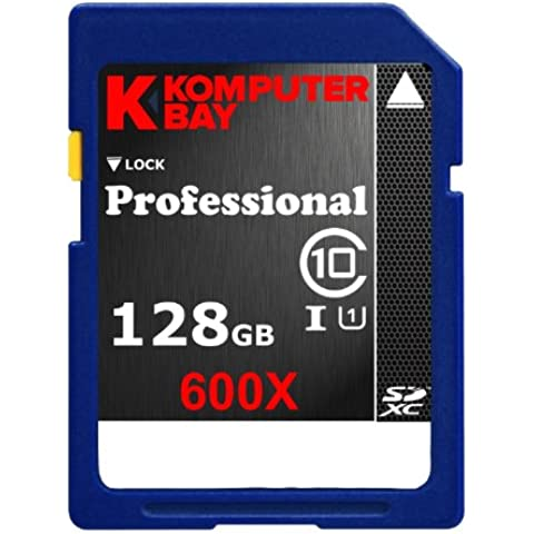 Komputerbay Professional - Tarjeta de memoria Secure Digital de velocidad extendida, 128GB SDXC , Clase 10 600X UHS-I, 60 MB/s escribir, 90MB/s