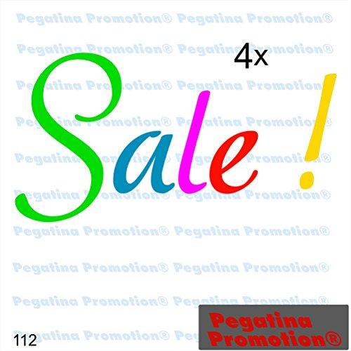 """Preisvergleich Produktbild 4er Set Aufkleber """"SALE"""" Prozente Schaufenster Reduziert Ausverkauf Schlussverkauf WSV SSV Typ 15ca. 60 cm Aufkleber Sticker Schaufensterwerbung Werbung Deko von Pegatina Promotion ®"""