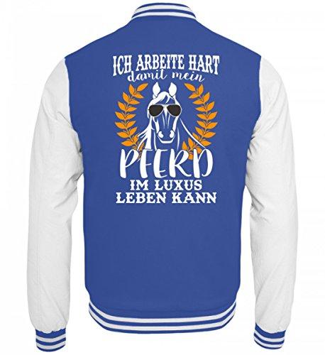 Hochwertige College Sweatjacke - Pferde Shirt · Geschenkidee für Pferde/Reitsport Fans · Pferd Motiv/Spruch · verschiedene Farben Blau-Weiss